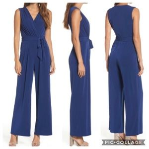 Vince Camuto Faux Wrap Jersey Jumpsuit Blue XS